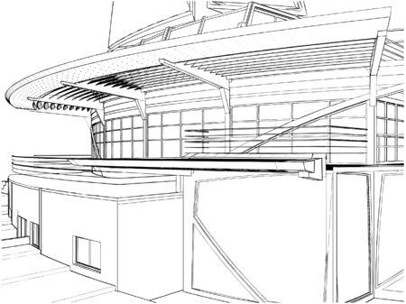 Abstract Construction Of  Ship Building  Vector