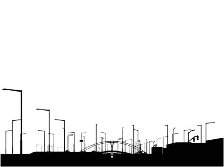 Modern City View Silhouette  Illustration