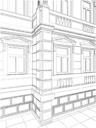Building Corner Residential Eclectic House Vector