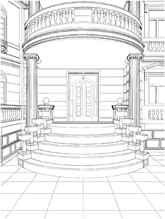 balustrade: Building Entrance Residential Eclectic House Illustration