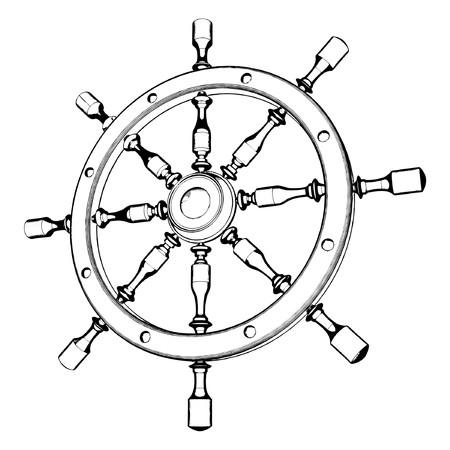 navy ship: Volante del tim�n Vectores