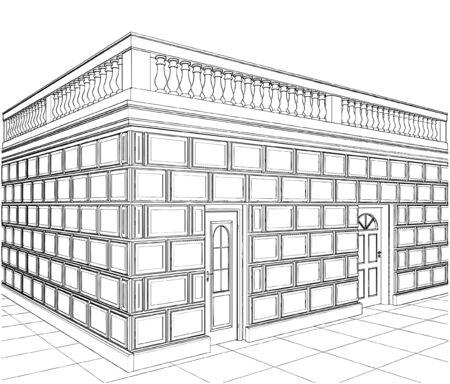 eclectic: Terrace Eclectic Buildings Illustration