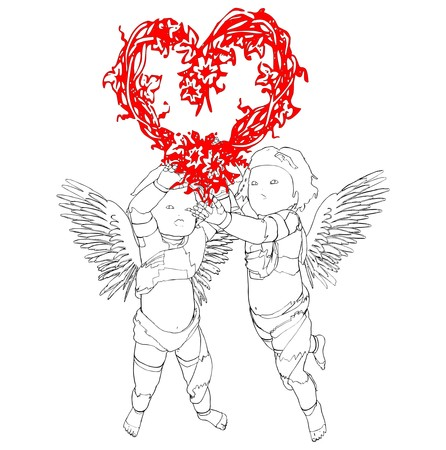 Two Angels With A Wreath In The Shape Of A Heart Stock Vector - 8711870