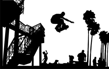 skateboard park: Skater salto con la silueta de escaleras de caracol