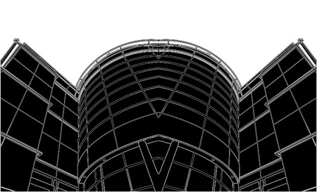 kwadrant: Building Corner Entrance Circle and Quadrant Vector Ilustracja