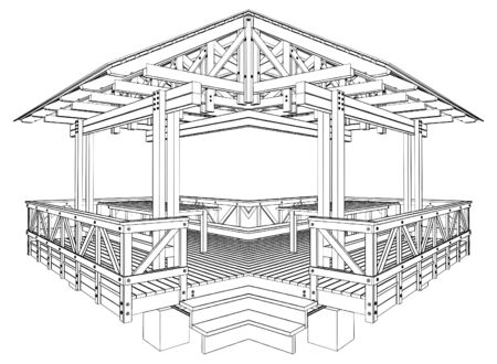 Wooden Pergola Illustration