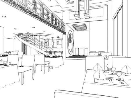 dinner setting: Restaurante moderno Vectores