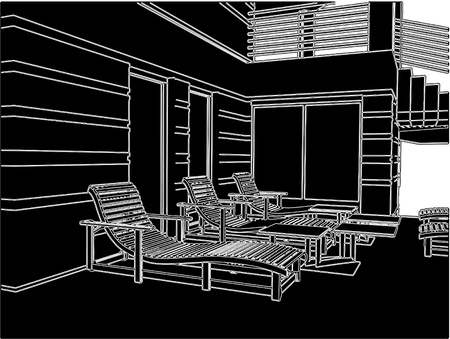 Sunbeds On The Teracce Relax Zone Of House Illustration