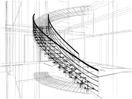 Abstract Spiral Staircases Constructions Of Line 免版税图像 - 9227816
