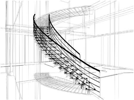 Abstrakt Spirale Treppen Konstruktionen der Linie