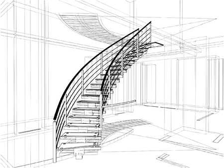 Abstract Spiral Staircases Constructions Of Line Stock Vector - 9227812