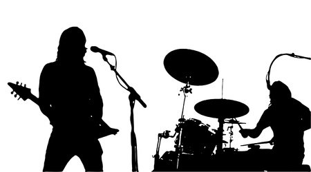 Guitarist And Drumer Musician Silhouettes Vector
