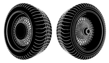 retreading: Car Wheel Tire Illustration