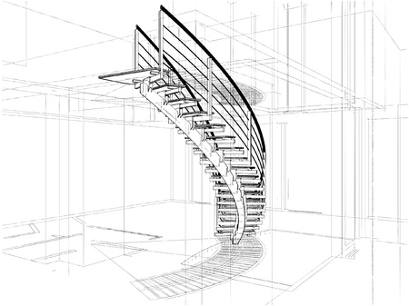 Abstract Spiral Staircases Constructions Of Line Stock Vector - 9426133