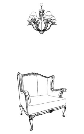 baroque room: Antique Armchair And Chandelier  Illustration