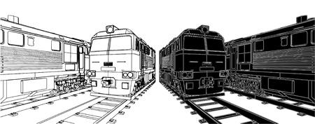 szynach: Lokomotywa pociÄ…gu Ilustracja