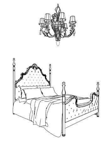 Antikes Bett und Kronleuchter