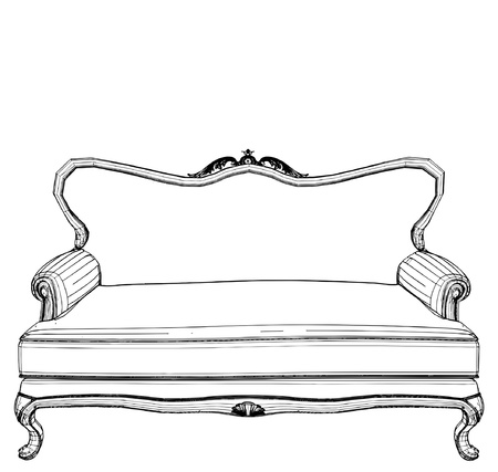 living room design: Antique Sofa Illustration