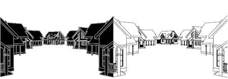 Residential Houses In The Settlement Stock Vector - 9485944