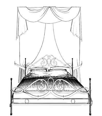 Bed and Curtain Vector