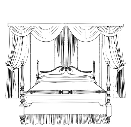 Bed and Curtain Stock Vector - 9536462