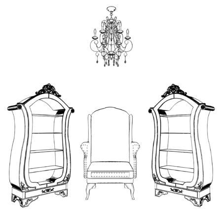 Interior Scene With Antique Armchair Bookcase Chandelier  Vector