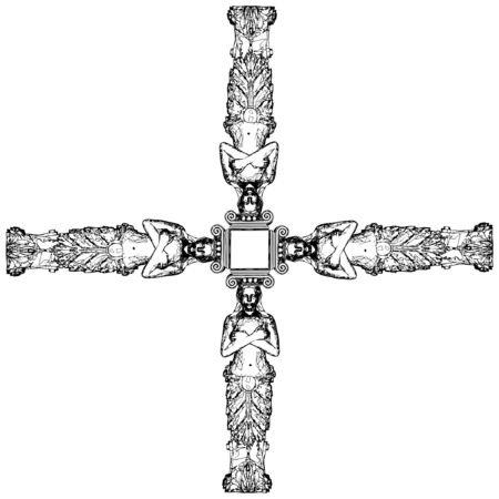 Greek Caryatid In The Cross Stock Vector - 9536471