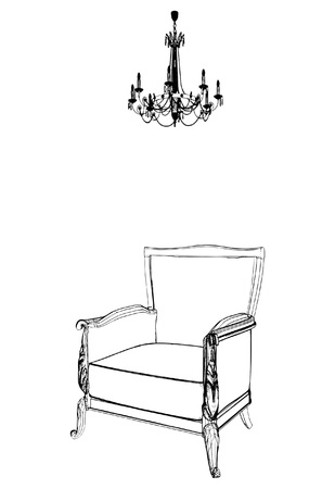 Antique Armchair And Chandelier Vector