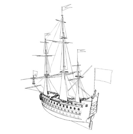 The Ancient Ship  Stock Vector - 9632279