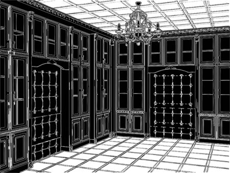 Antique Bookcase Room Vector