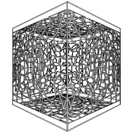 captive: Abstract Ornamental Cage Illustration