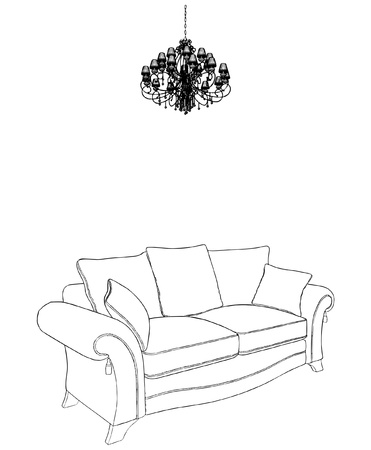 living room design: Sofa And Chandelier Illustration
