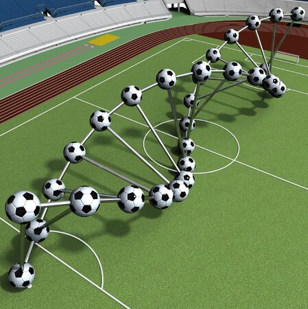 sequencing: DNA String Of Soccer Player On The Field Of Stadium