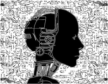 Android revela tecnología interna de su circuito eléctrico Ilustración de vector