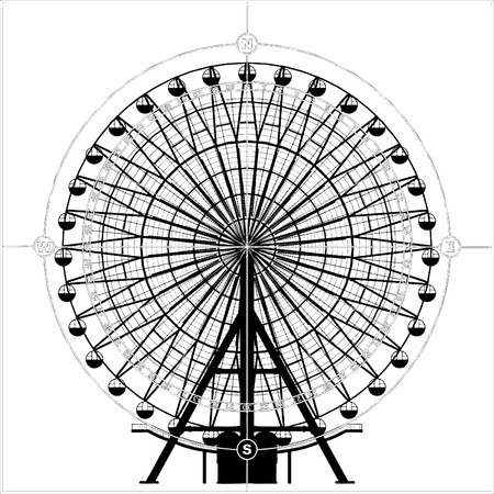spinning wheel: Carousel In Compass  Illustration