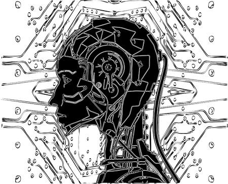 cerebro blanco y negro: Android revela tecnología interna de su circuito eléctrico.