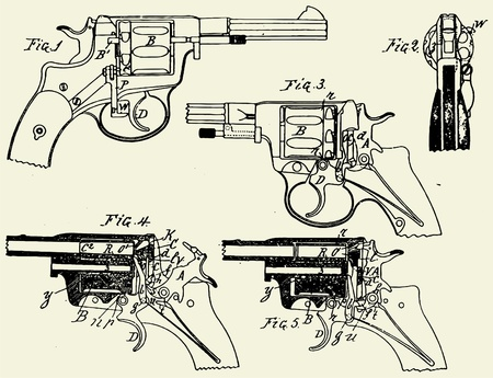 Vintage Colt Revolver Drawing Stock Vector - 10669034