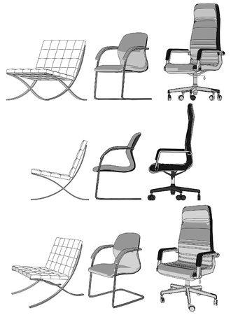 leather chair: Tre poltrona da ufficio Vettoriali