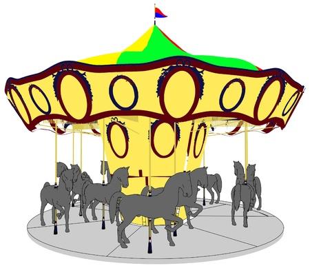 wooden horse: Merry-Go-Round Horse Carousel Illustration