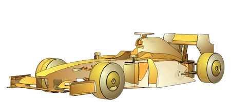 bolide: Golden Race Car  Illustration
