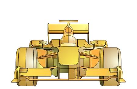 formula car: Golden Race Car  Illustration