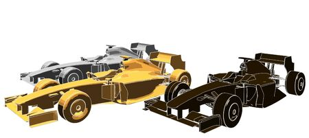 formula car: Golden Silver Bronze Race Car