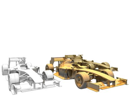 bolide: Golden Silver Bronze Race Car