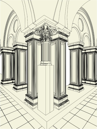 Antique Pillars In The Hall Vector