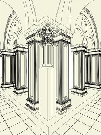 ceiling design: Antique Pillars In The Hall