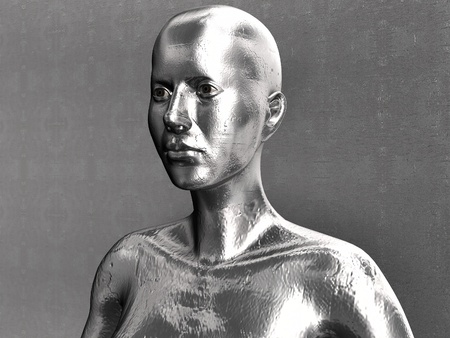 perfil de mujer rostro: Liquid Android de metal frente a la pared