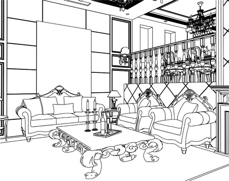 luxury furniture: Living Room Illustration