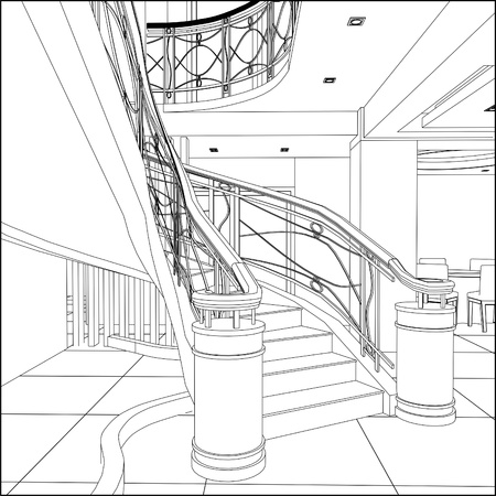 Spiral Staircases Constructions Vector