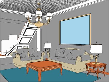 modern living room: Living Room Illustration