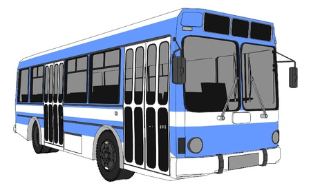 passenger buses: Ciudad moderna Vectores